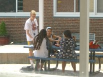 "Now that there's nicer weather, students can study or hang out in the senior courtyard. Some classes, like Ms. Hederian's English class, even hold lessons outside. ""We read 'Catcher in the Rye.' It was so fun!"" said sophomore Archana Verma."