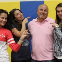 "Mr. Klobus with colleagues, from left, Ms. Funes, Mrs. Corbett, and Ms. Dunn, said, ""I am proud of going into the Phys. Ed Department and working with the Phys. Ed staff."