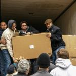 Jeremy Del Rio and friends offloading relief supplies at what became Manhattan's largest relief site