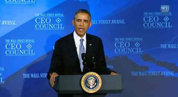 Barack Obama addresses the Wall Street Journal CEO Council on November 19, 2013 (White House)