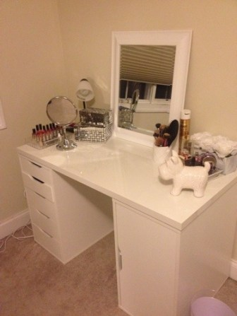 diy makeup vanity desk set up alex ikea hack vanity girl hollywood home goods and more .