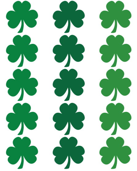 Sheet of Shamrocks