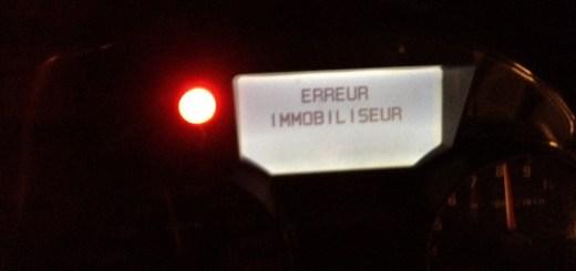 """Message d/'erreur : """"Erreur Immobiliseur"""""""