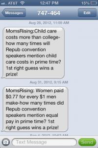 Moms Rising texts