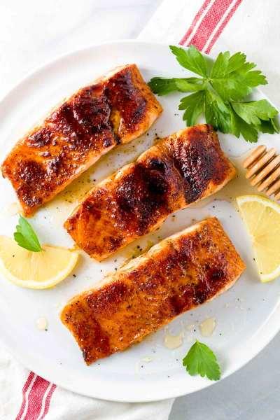 Broiled Salmon with Molasses Glaze - Jessica Gavin