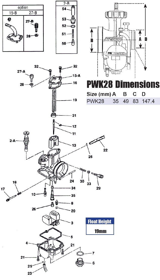 Keihin PWK28 carb exploded view