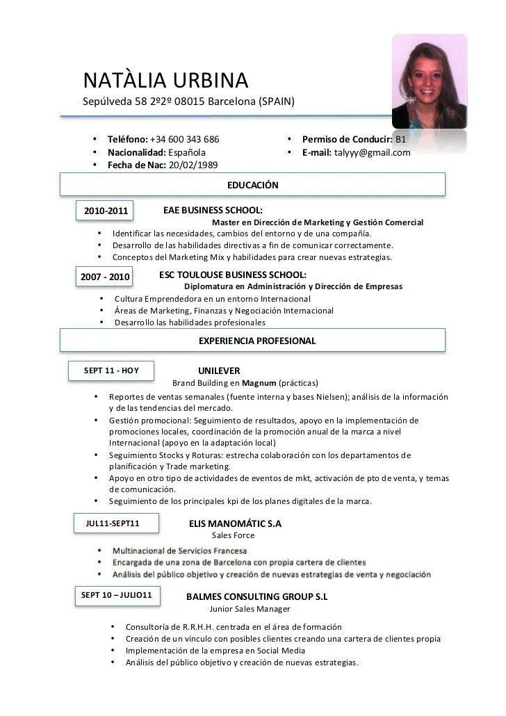 exemple de cv ecrit en espagnol