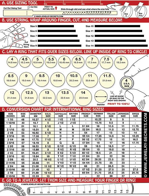FREE PRINTABLE RING FINGER SIZE CHART \u2013 Jewelry Secrets