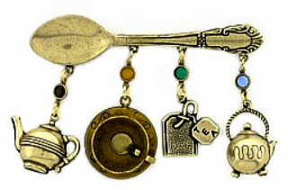Vintage Tea Spoon Charm Pin Austrian Crystal Fashion