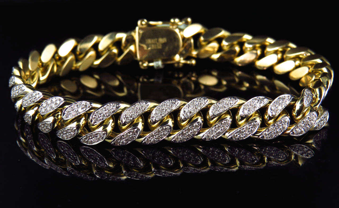 Mens Solid 10k Yellow Gold Miami Curb Cuban Link Diamond