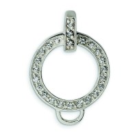 Sterling Silver CZ Charm Holder Pendant - Measures 24x17mm ...