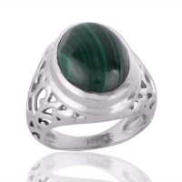 Man Ring Design Gemstone Malachite and Solid Silver Mens Rings