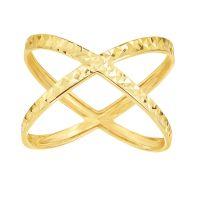 14 Karat Yellow Gold Diamond Cut Criss Cross X Ring ...
