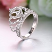 925 Sterling Silver Princess Crown Ring With CZ Inlaid ...