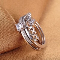925 Silver Personalized Creative Combination Crown Ring
