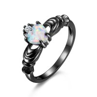 Black Heart Cut Opal Stone Promise Ring/Engagement Ring