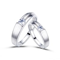 Dull Polish Platinum Plated 925 Sterling Silver Lover ...
