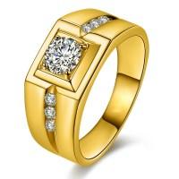 Domineering Plated 24K Gold Diamond Ring - Mens Rings