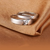 Matte 925 Silver Plated Platinum Couple Rings - Couple Rings