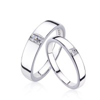 Europe Simple 925 Silver Plated Platinum Couple Rings ...
