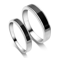 925 Sterling Silver Platinum Plated Black Agate Simple ...