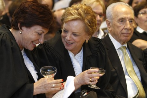 Dorit Beinisch to the left of Pres. Shimon Peres