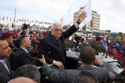 Mahmoud at an event hosted by the children of Palestine to support the efforts of the Palestinian leadership at the United Nations, in the West Bank city of Ramallah,October 1, 2011.