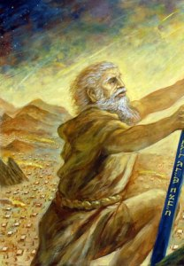 Moses on Sinai [detail] (2010), oil on canvas, 30x30 by Brian Shapiro