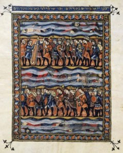 Crossing of the Red Sea. Rylands Haggadah, 14th century.