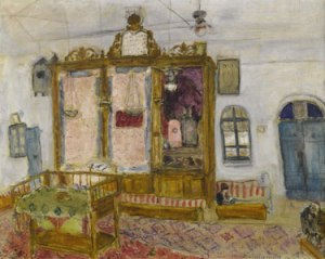 """Lot 14. Collection of Lillian and Jack Cottin. Marc Chagall. """"Interior of the Yemenite Hagoral Synagogue, Jerusalem."""" 1931. Oil over pencil on canvas. 28 7/8 by 36 1/4 in."""