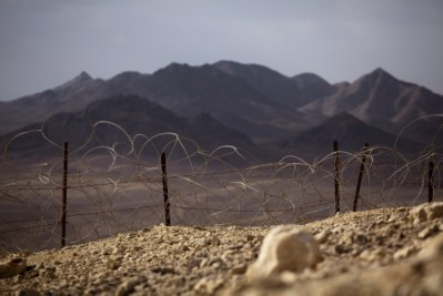 View of the Israeli-Egyptian border next to the southern city of Eilat.  The Israeli parliament decided in 2010 to build a fence along Israel's border with Egypt to prevent the infiltration of terrorists, smugglers and illegal inmigrants from Africa.