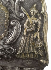 Detail of Judith with the head of Holofernes German Parcel-Gilt Silver Hanukah Lamp by George Kahlert, the Younger, Breslau 1760 Courtesy Sotheby's New York Lot 12