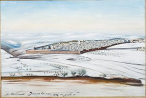 Jerusalem in Snow (1927) oil on canvas by Ludwig Blum. Courtesy Museum of Biblical Art