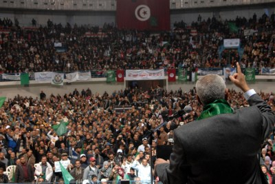 Ismail Haniya, de facto Prime Minister in Hamas-ruled Gaza, gestures as he speaks in front of supporters of the Tunisian islamist Ennahdha Party on January 8, 2012 in Tunis.