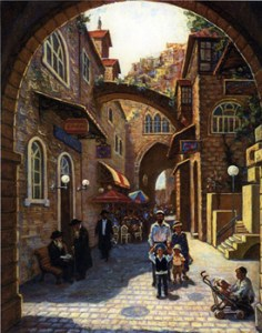 Old City Stroller, oil on canvas by Venyamin Zaslavsky. Courtesy Chassidic Art Institute (not in exhibition)