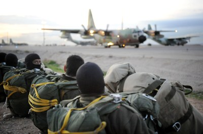 IDF paratroopers brigade conducts a brigade-level parachute jump the first such exercise to be held in 20 years as part of a surprise military drill,  in 2012.