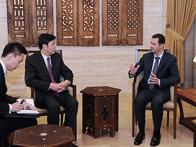 Syrian President Bashar al-Assad met with a Chinese delegation Saturday.