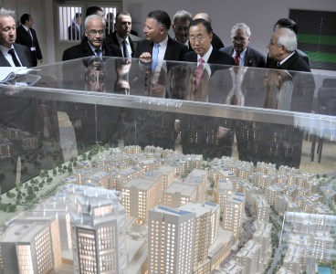 Ban Ki-Moon visits a new investment project in Judea and Samaria