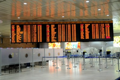 Ben Gurion International Airport - nearly empty as the U.S. imposes a ban on flights to Israel, caving to Hamas missile attacks.