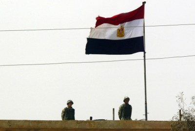 Egyptian soldiers on their side of the Rafah border crossing