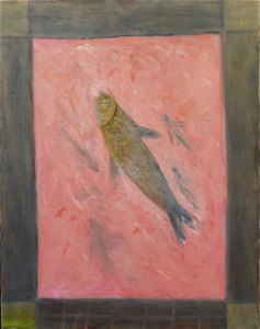 Survivor Fish (2005) oil on canvas by Leah Ashkenazy