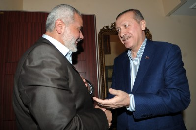 Hamas leader Ismail Haniyeh (L) and Turkish Prime Minister Recep Tayyip Erdogan.
