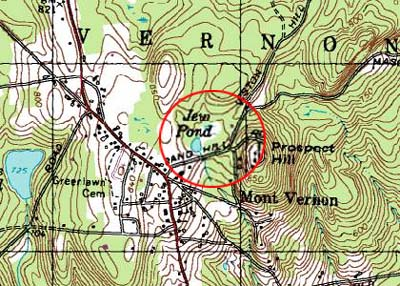The map of Mont Vernon, NH, with Jew Pond