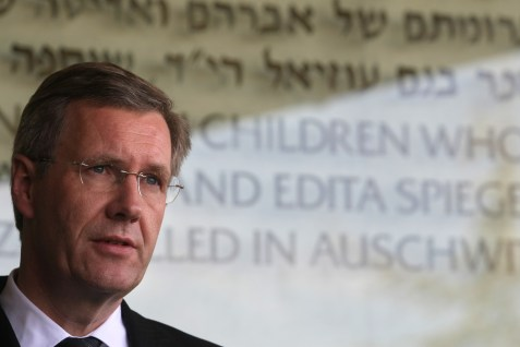 Former President of Germany Christian Wulff speaks at Yad Vashem Holocaust Memorial museum in Jerusalem, Nov. 28, 2010