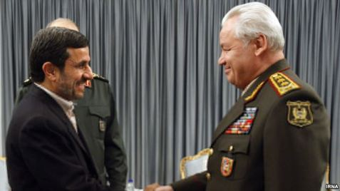 Iranian President Mahmoud Ahmadinejad meets with Azeri Defense Minister Safar Abiyev