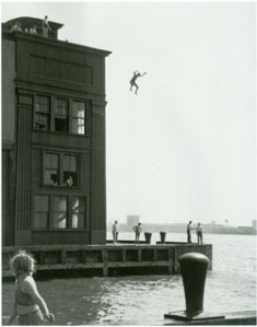 Boy Jumping into the Hudson River (1948) Gelatin silver print by Ruth Orkin. Courtesy The Jewish Museum