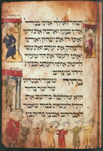 "Esav and Yakov, fol. 12r, (ca.1300) illuminated manuscript, Israel Museum Courtesy ""The Medieval Haggadah"" by Marc Michael Epstein. Yale University Press, 2011"