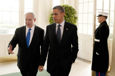 Israel's Prime Minister Benjamin Netanyahu (L) meets with US president Barack Obama in the White House, Washington DC, during PM Netanyahu's official visit in the USA. March 05, 2012.
