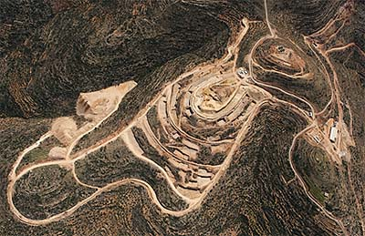 An aerial view of construction work on the site of Rawabi