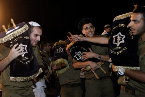 IDF soldiers celebrating Simchat Torah